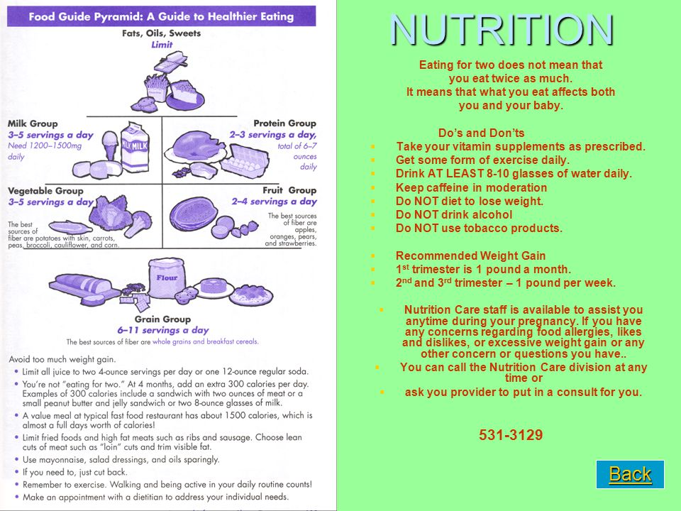 NUTRITION 531-3129 Eating for two does not mean that