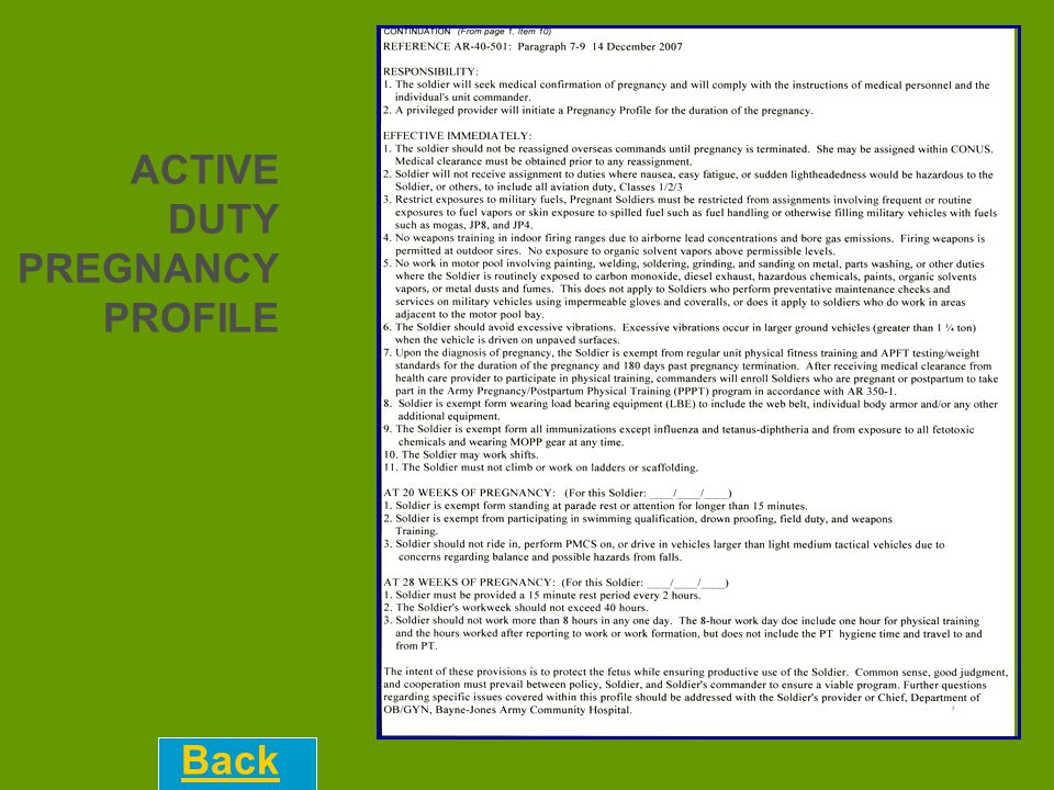 ACTIVE DUTY PREGNANCY PROFILE Back