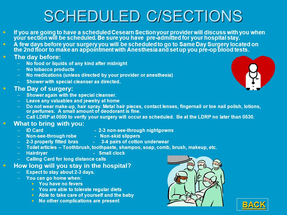 SCHEDULED C/SECTIONS BACK The day before: The Day of surgery: