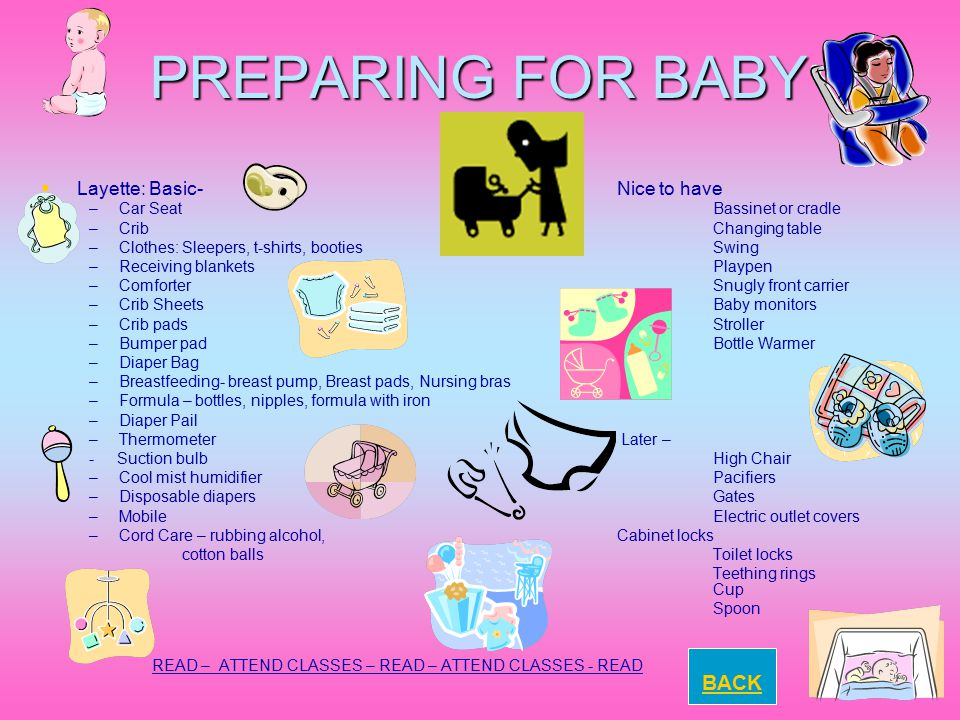 PREPARING FOR BABY BACK Layette: Basic- Nice to have
