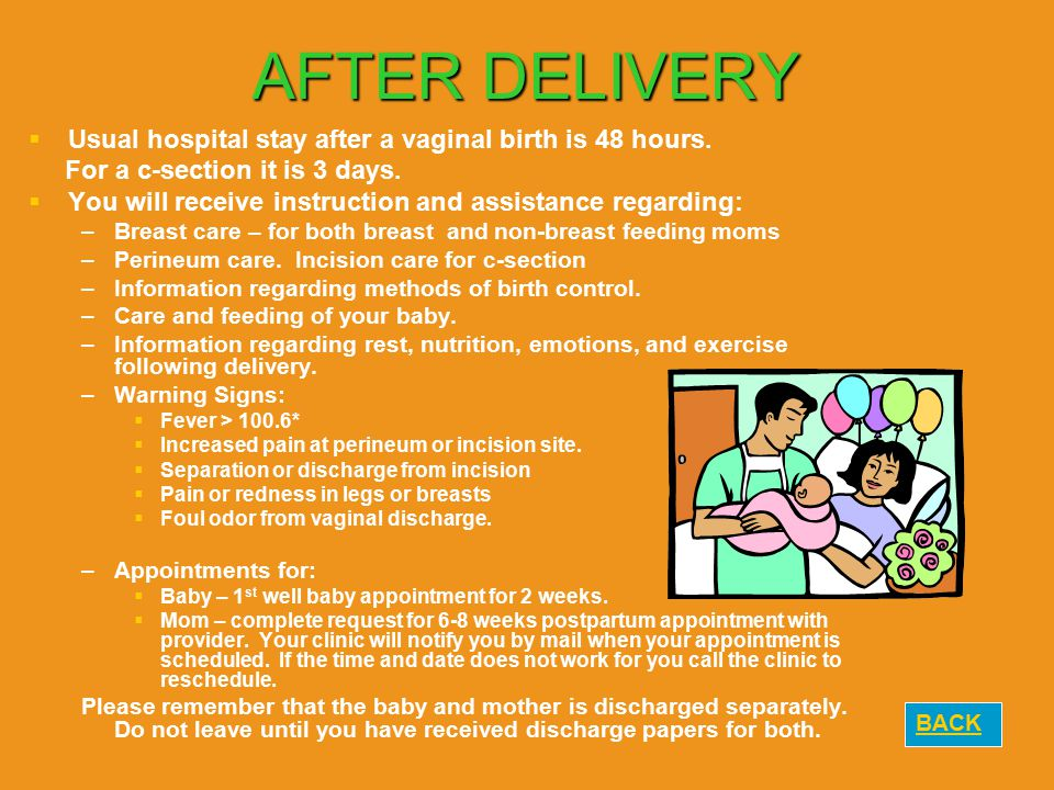 AFTER DELIVERY Usual hospital stay after a vaginal birth is 48 hours.