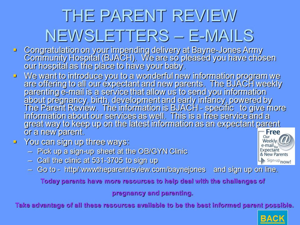 THE PARENT REVIEW NEWSLETTERS – E-MAILS