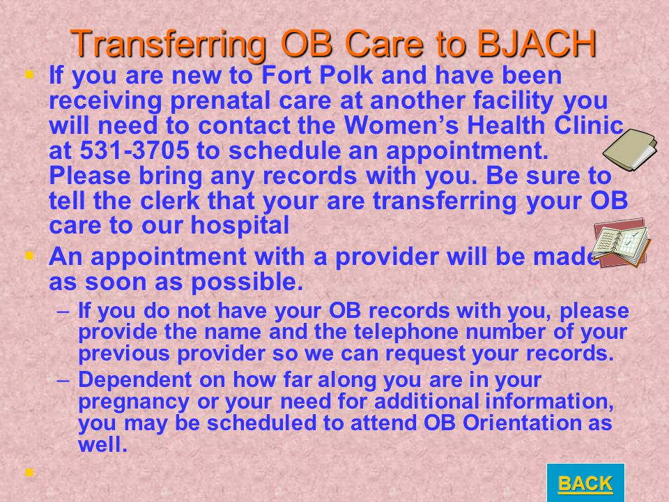 Transferring OB Care to BJACH