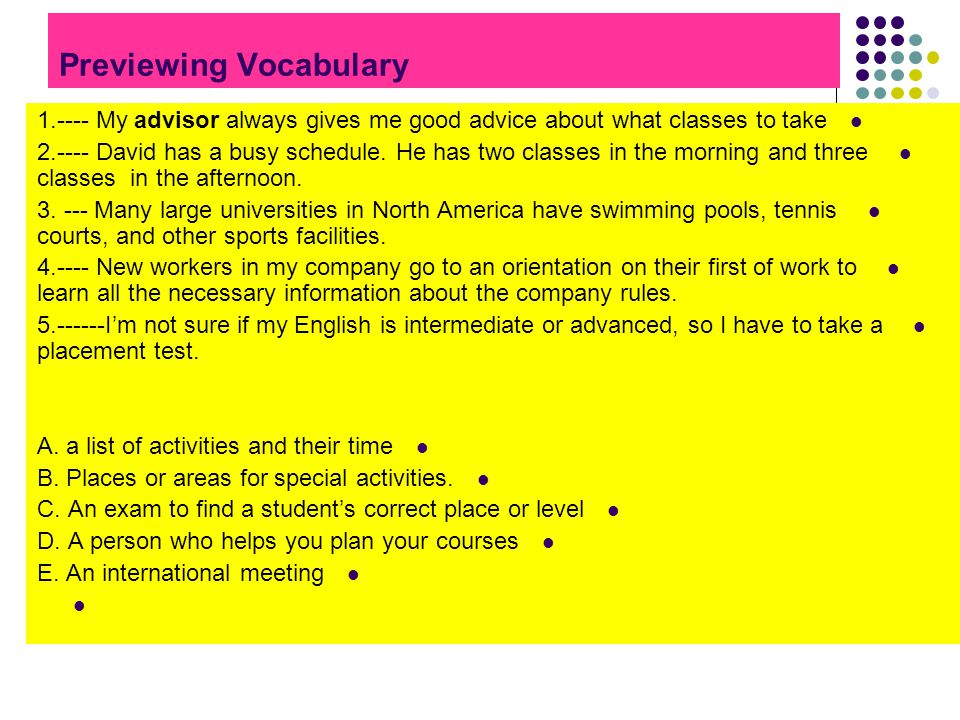Previewing Vocabulary