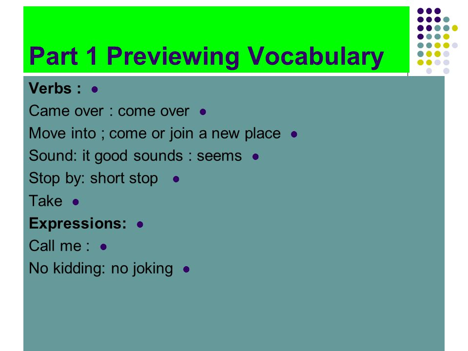 Part 1 Previewing Vocabulary