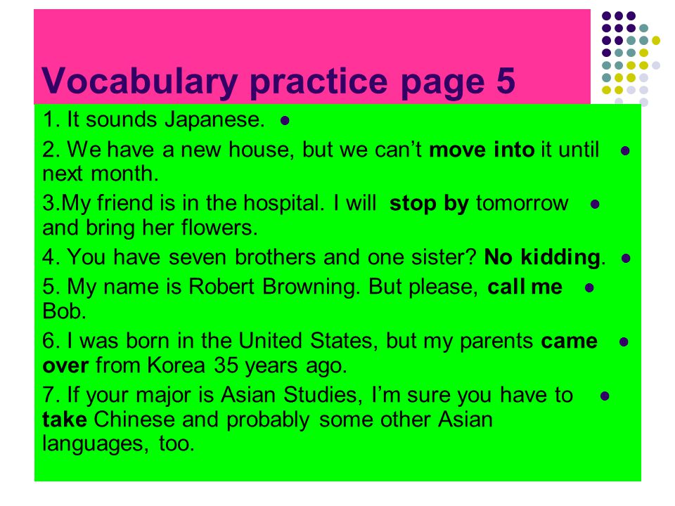 Vocabulary practice page 5