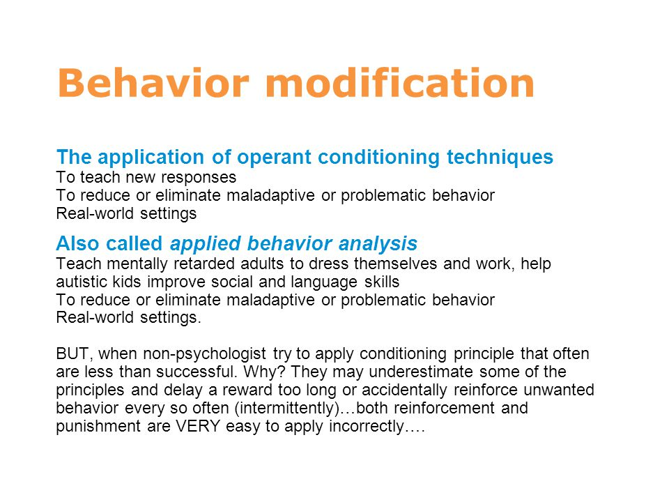 Methods for modifying behavior in children