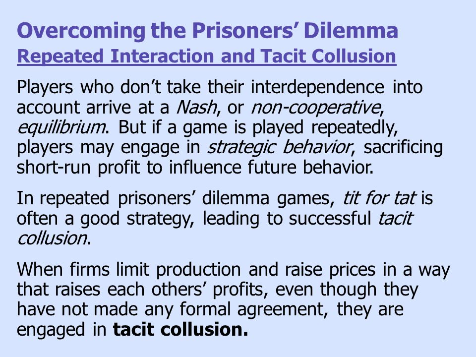 Overcoming the Prisoners' Dilemma