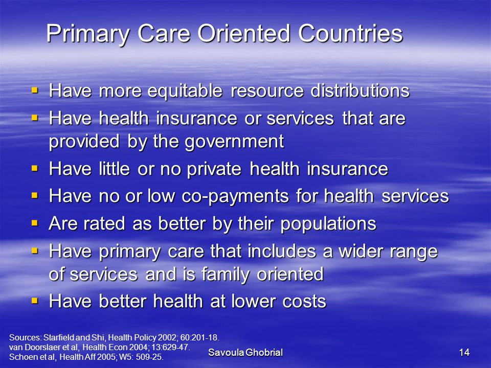 Primary Care Oriented Countries