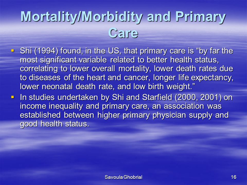 Mortality/Morbidity and Primary Care