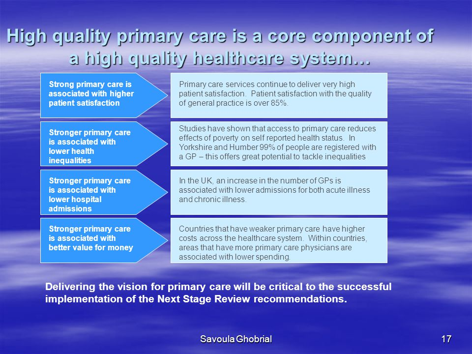 High quality primary care is a core component of a high quality healthcare system…