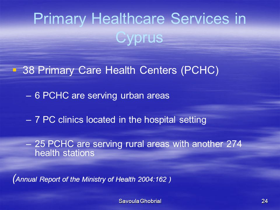 Primary Healthcare Services in Cyprus