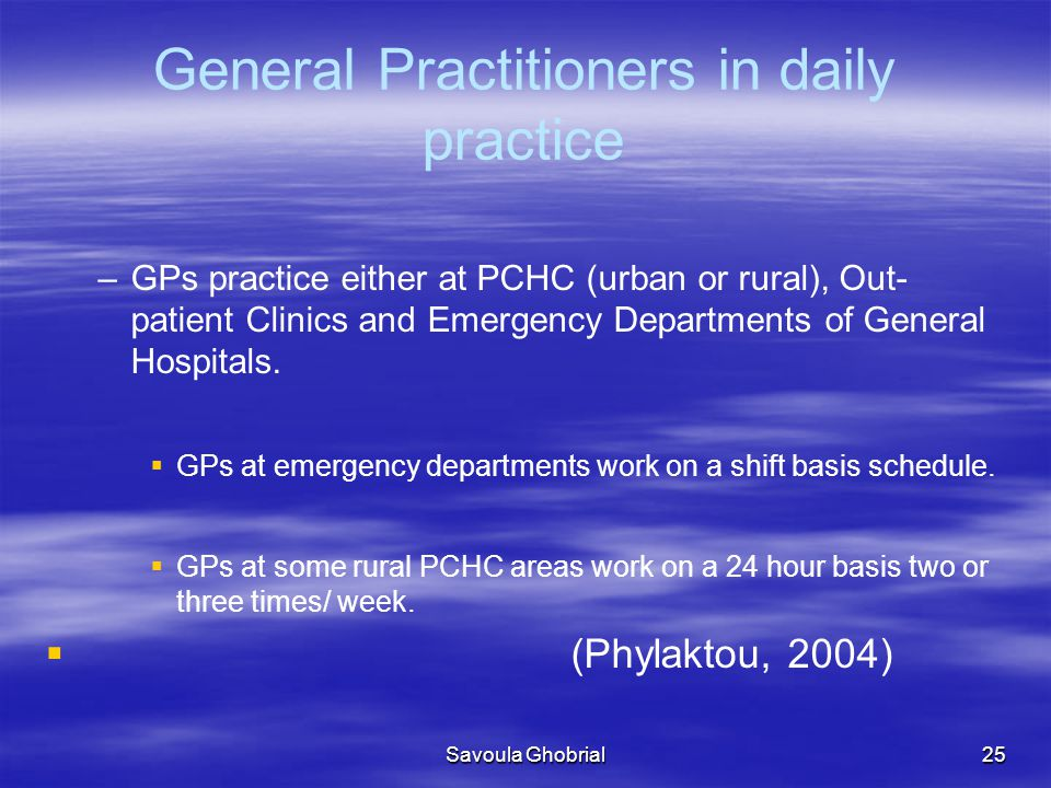 General Practitioners in daily practice