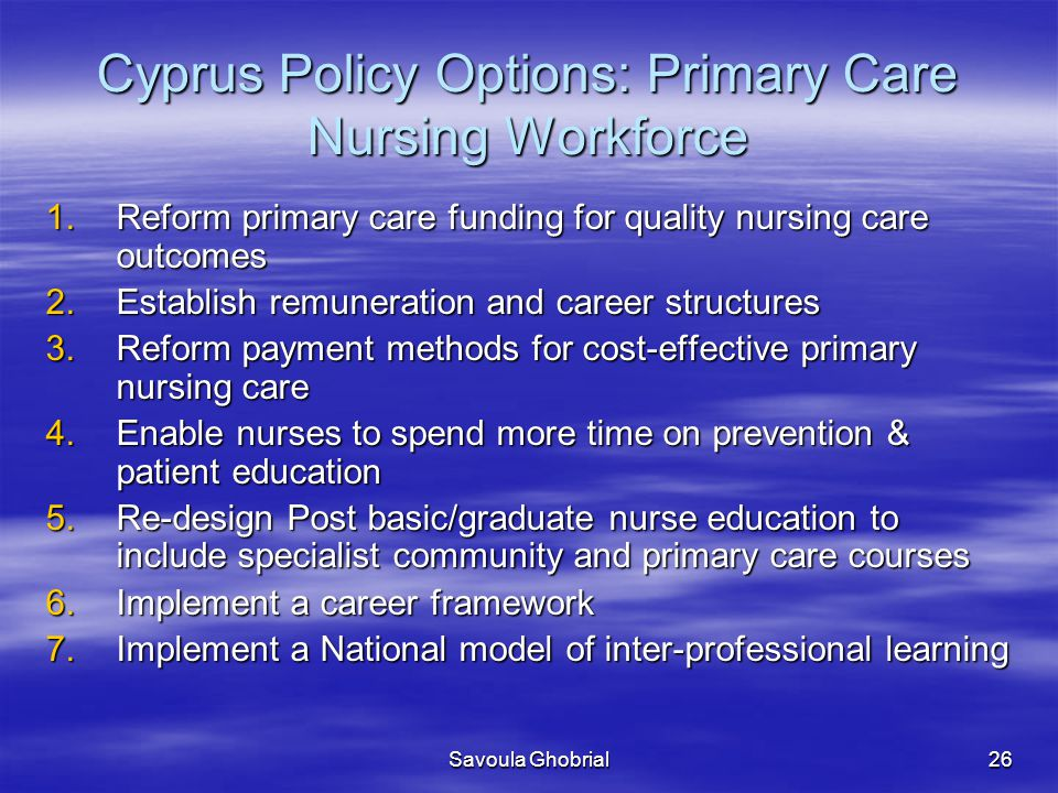 Cyprus Policy Options: Primary Care Nursing Workforce