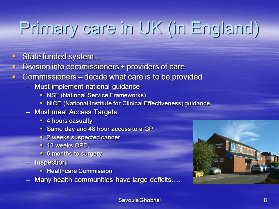 Primary care in UK (in England)
