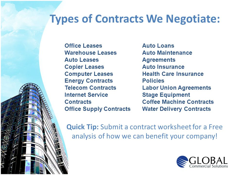 Types of Contracts We Negotiate: