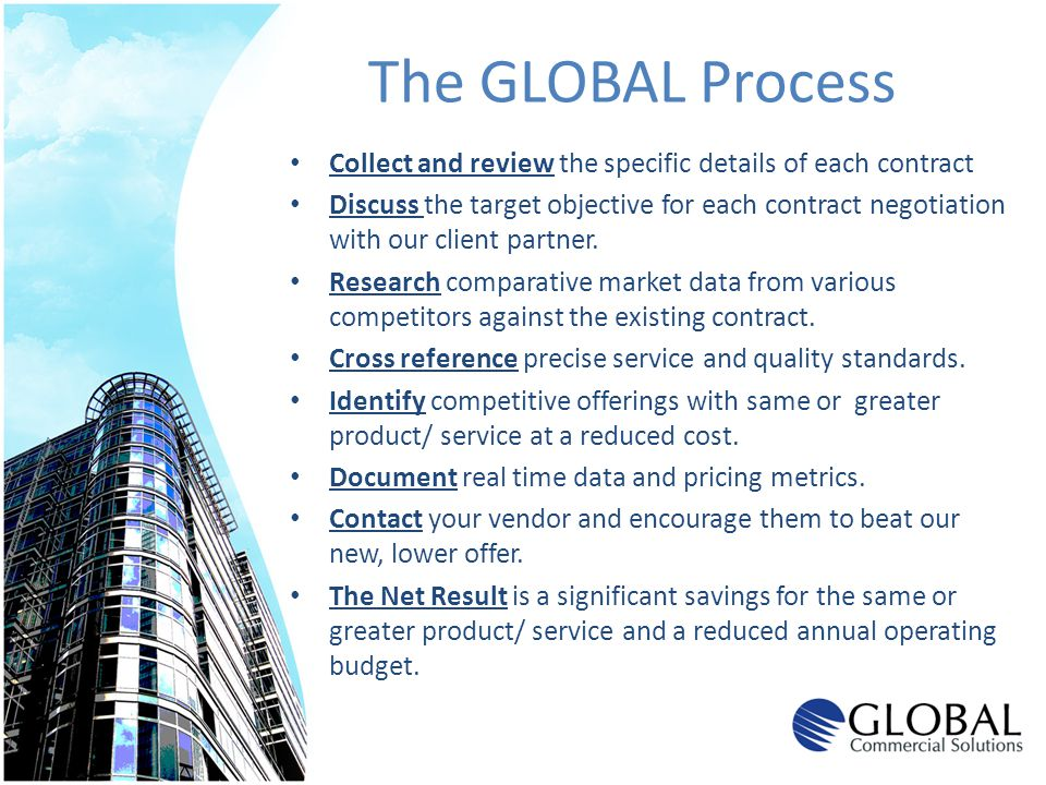 The GLOBAL Process Collect and review the specific details of each contract.