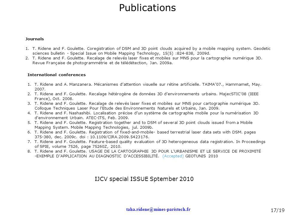 Publications IJCV special ISSUE Sptember 2010