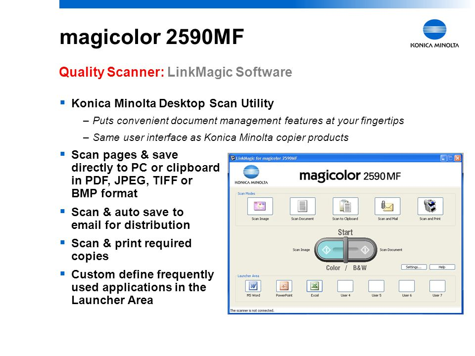 magicolor 2590MF Quality Scanner: LinkMagic Software