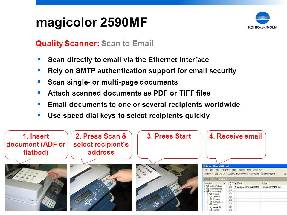 magicolor 2590MF Quality Scanner: Scan to Email