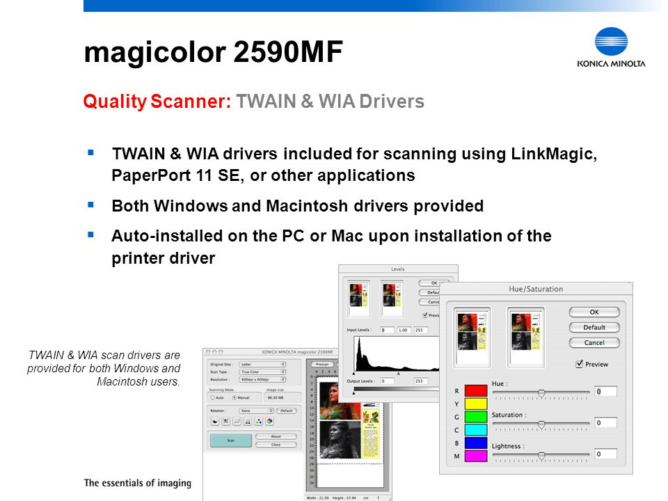 magicolor 2590MF Quality Scanner: TWAIN & WIA Drivers