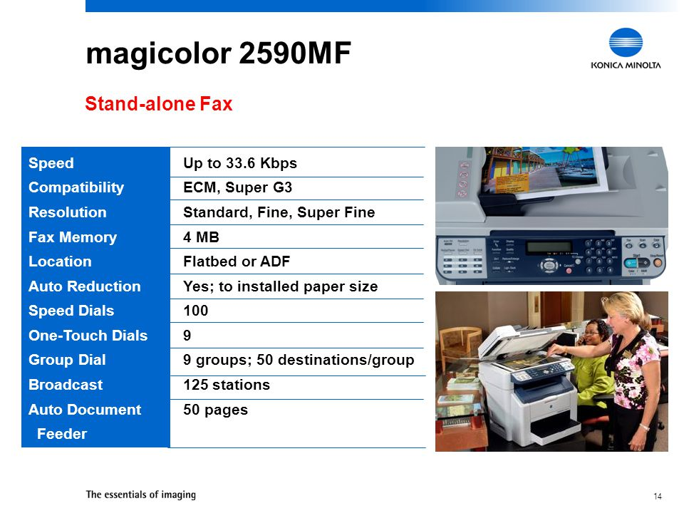 magicolor 2590MF Stand-alone Fax Speed Compatibility Resolution