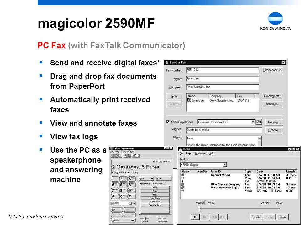 magicolor 2590MF PC Fax (with FaxTalk Communicator)