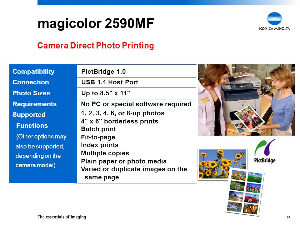 magicolor 2590MF Camera Direct Photo Printing Compatibility Connection