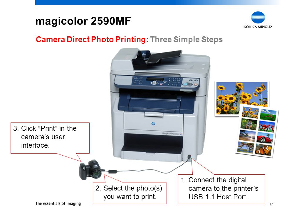magicolor 2590MF Camera Direct Photo Printing: Three Simple Steps