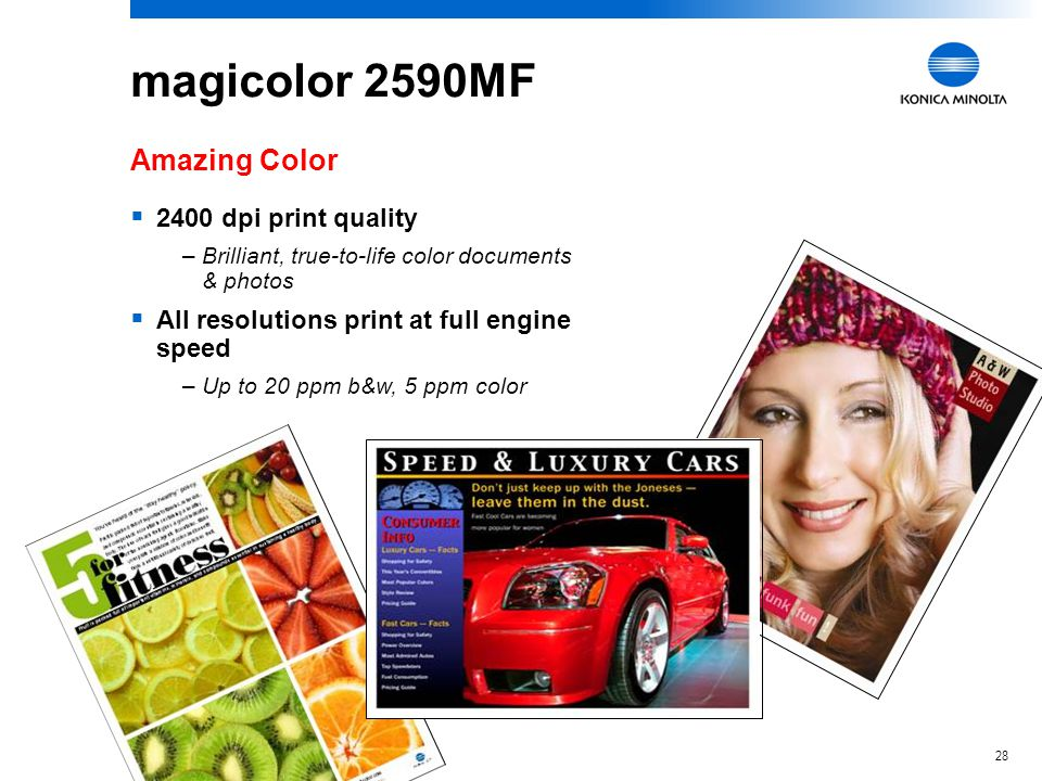 magicolor 2590MF Amazing Color 2400 dpi print quality