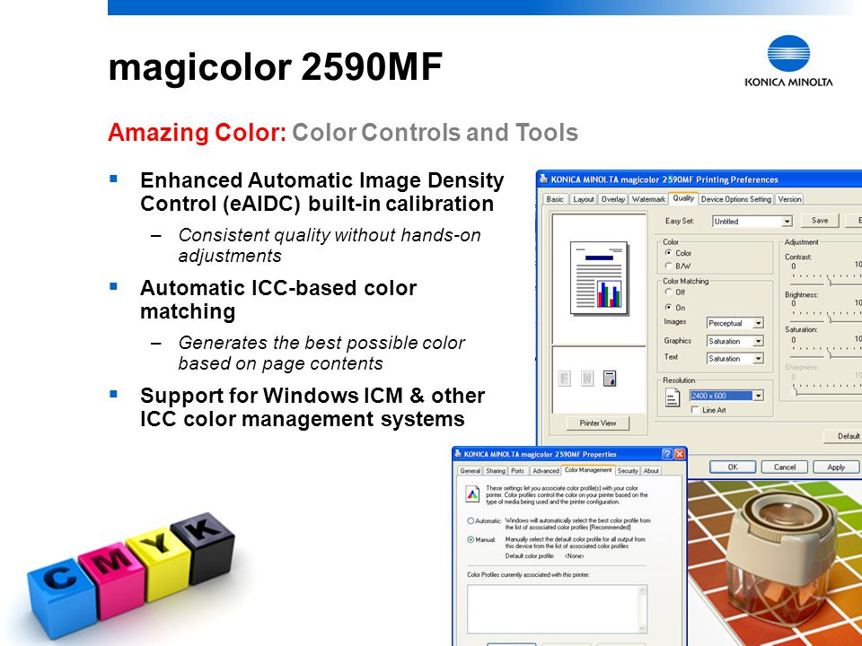 magicolor 2590MF Amazing Color: Color Controls and Tools