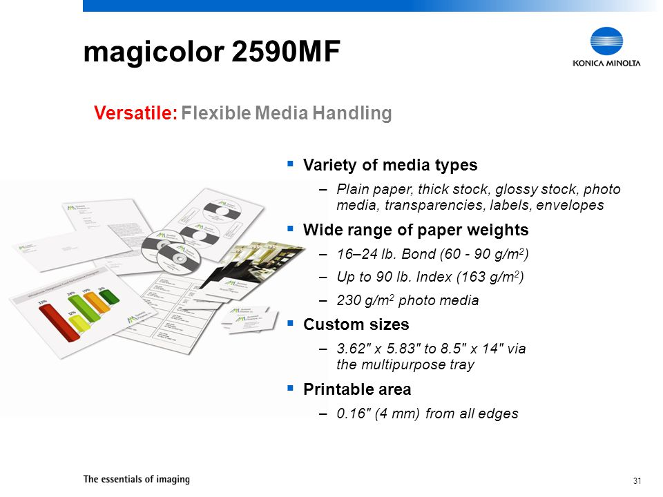 magicolor 2590MF Versatile: Flexible Media Handling