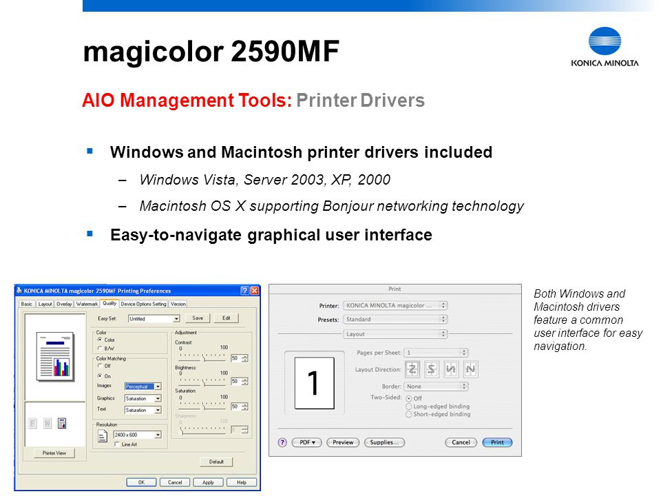 magicolor 2590MF AIO Management Tools: Printer Drivers