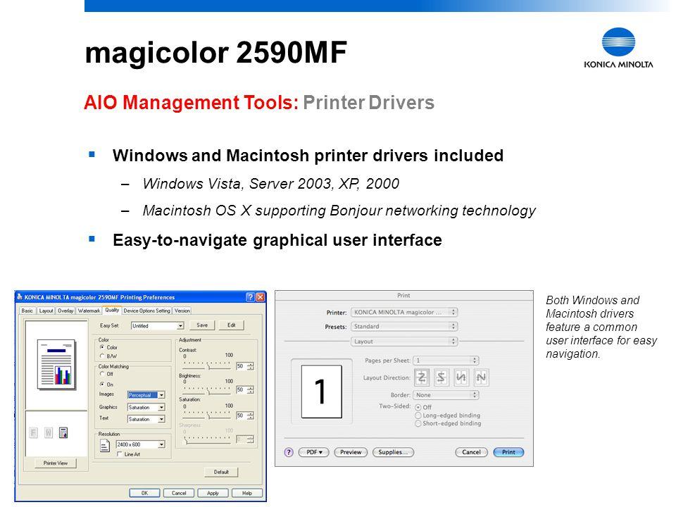 magicolor 2590MF AIO Management Tools: Printer Drivers
