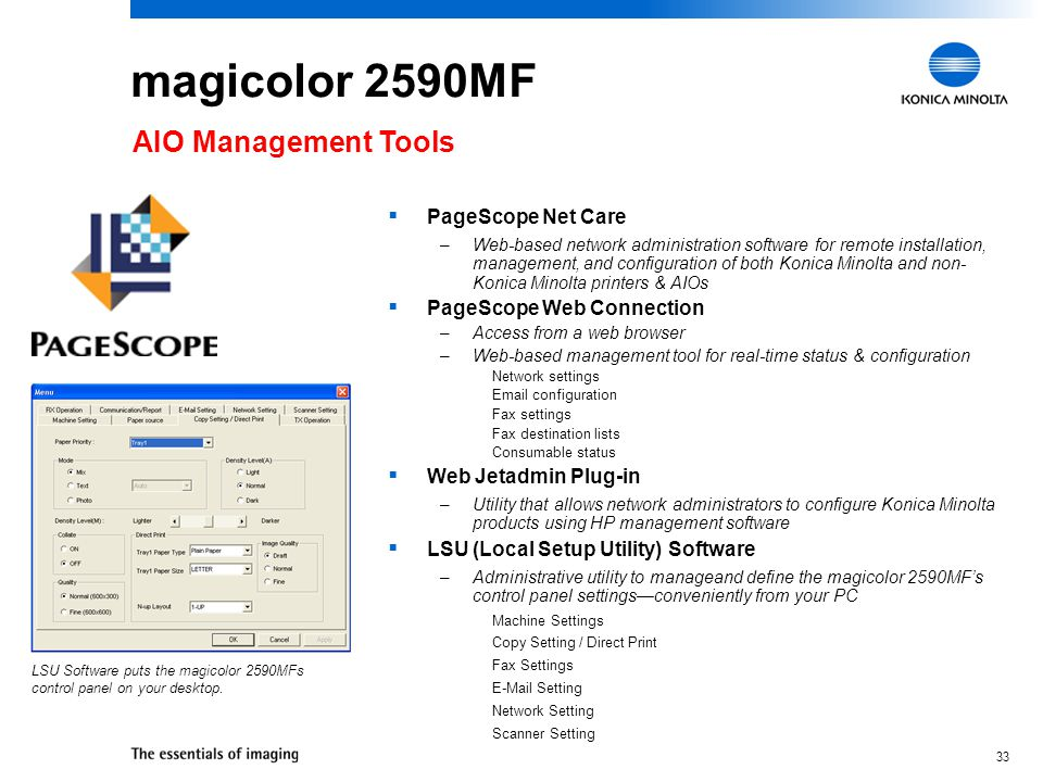 magicolor 2590MF AIO Management Tools PageScope Net Care