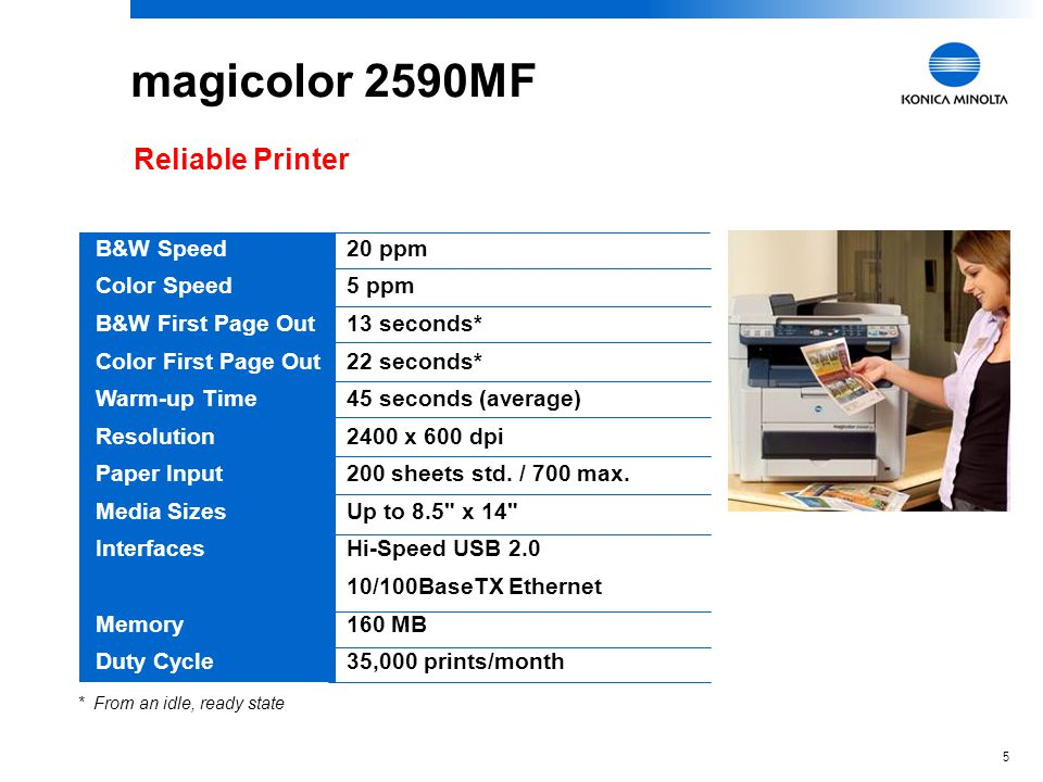 magicolor 2590MF Reliable Printer B&W Speed Color Speed