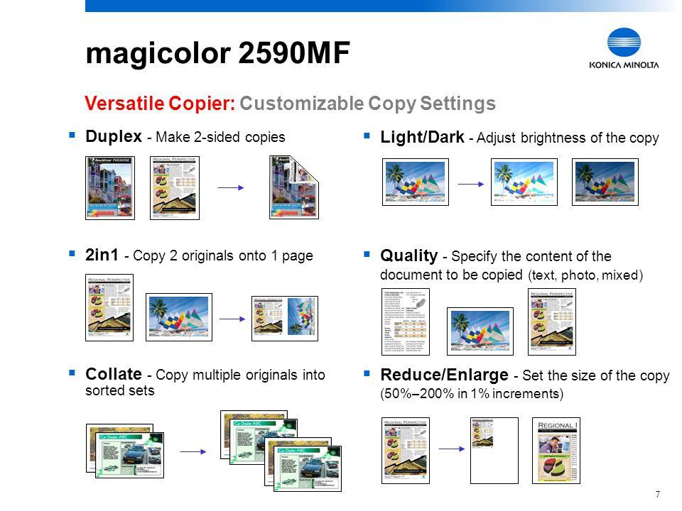 magicolor 2590MF Versatile Copier: Customizable Copy Settings