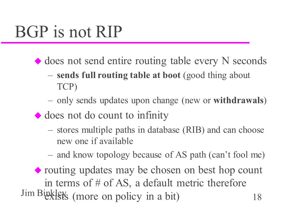 BGP is not RIP does not send entire routing table every N seconds