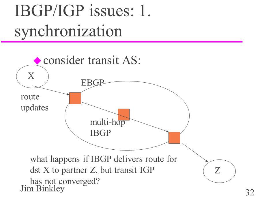 IBGP/IGP issues: 1. synchronization