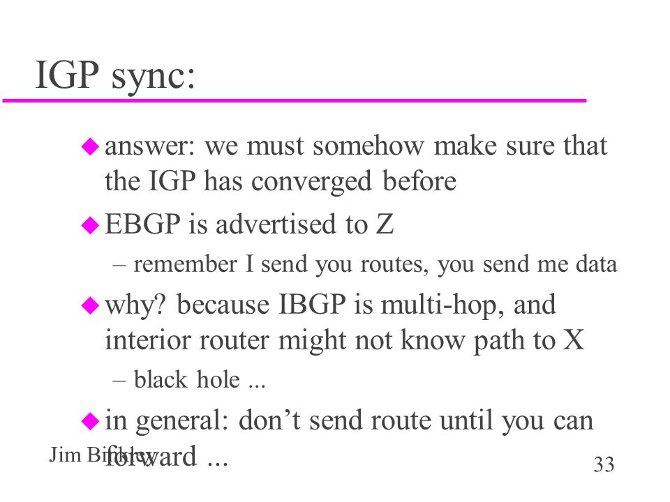 IGP sync: answer: we must somehow make sure that the IGP has converged before. EBGP is advertised to Z.