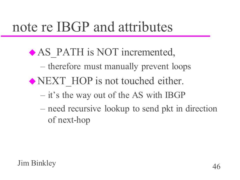 note re IBGP and attributes