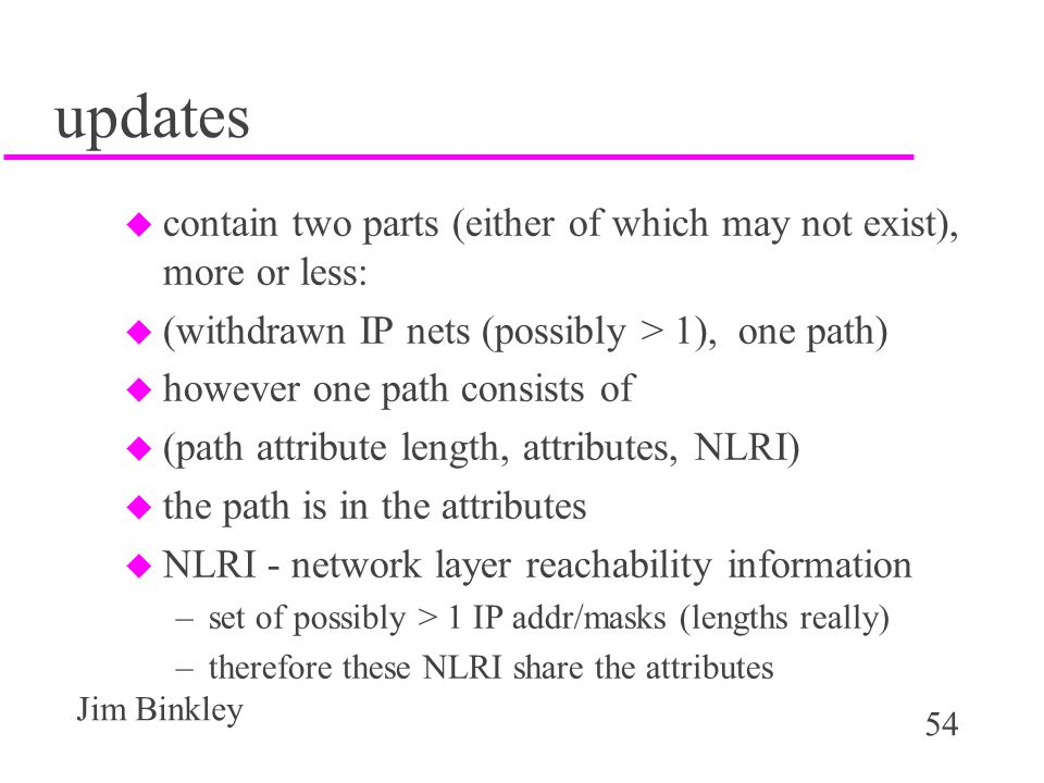 updates contain two parts (either of which may not exist), more or less: (withdrawn IP nets (possibly > 1), one path)