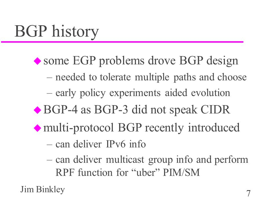 BGP history some EGP problems drove BGP design