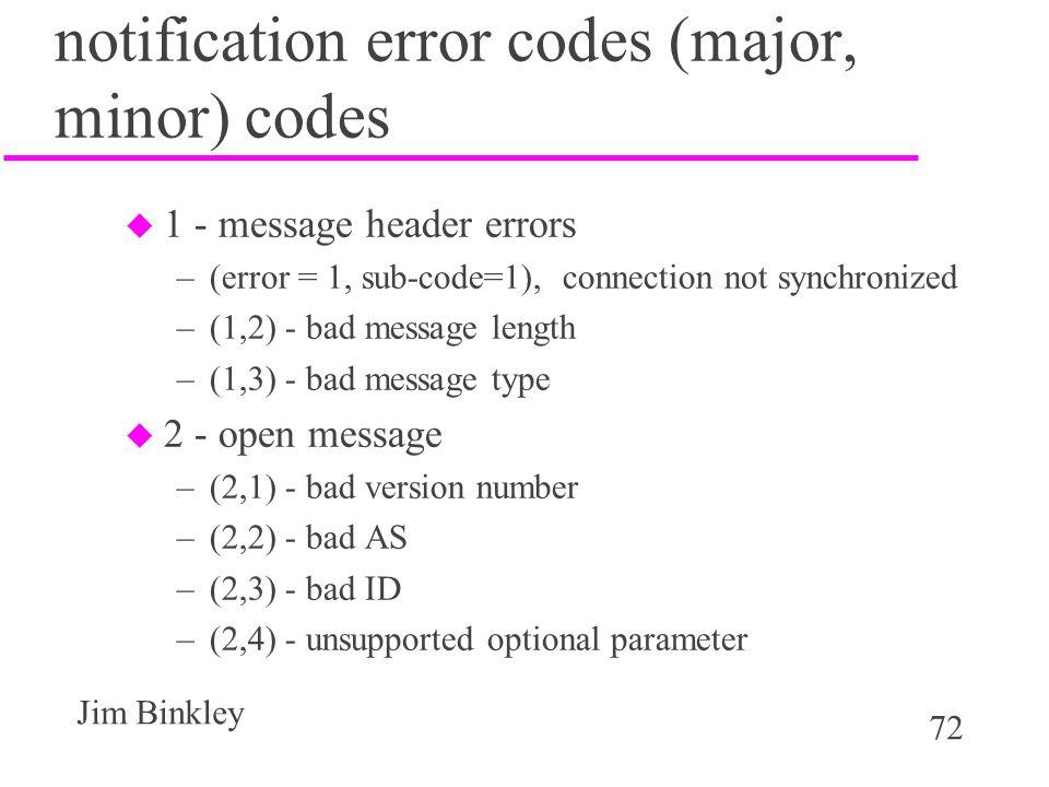 notification error codes (major, minor) codes