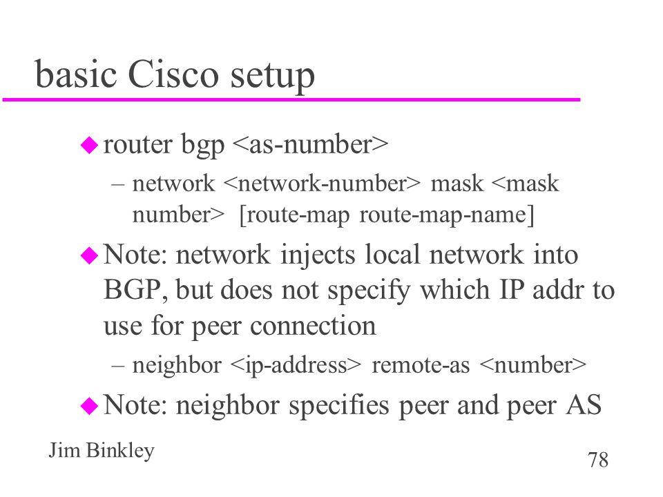 basic Cisco setup router bgp <as-number>