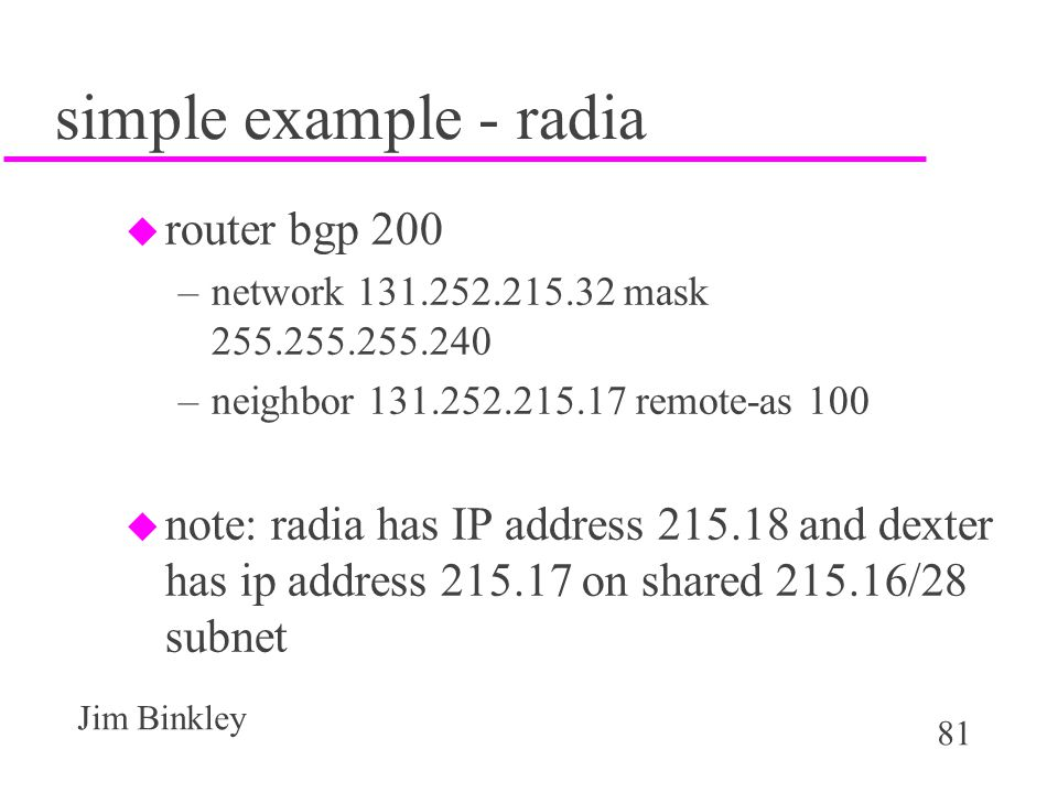 simple example - radia router bgp 200