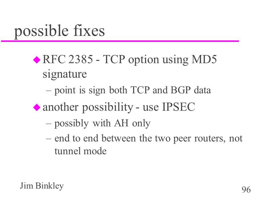 possible fixes RFC 2385 - TCP option using MD5 signature