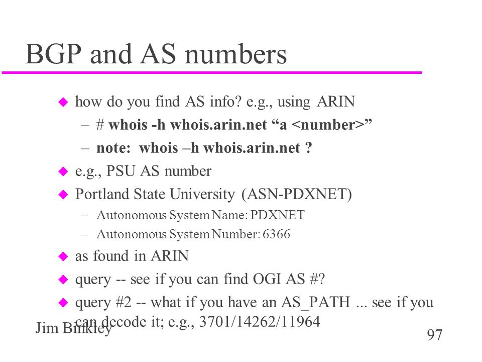 BGP and AS numbers how do you find AS info e.g., using ARIN