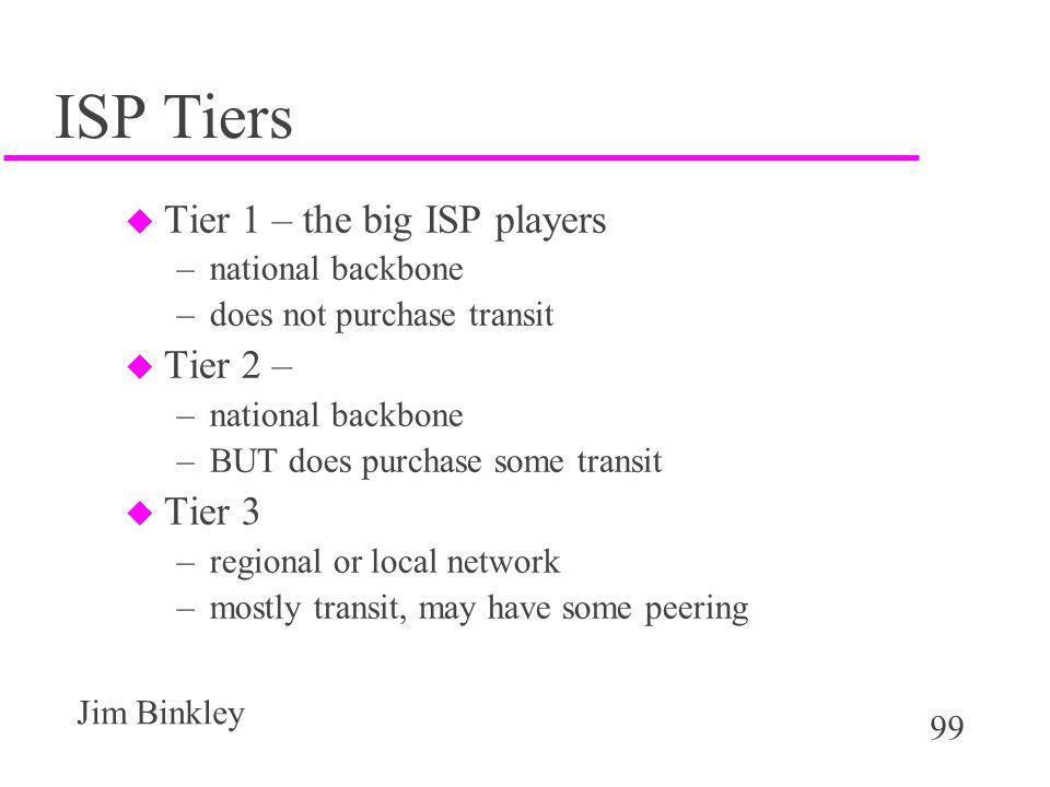 ISP Tiers Tier 1 – the big ISP players Tier 2 – Tier 3