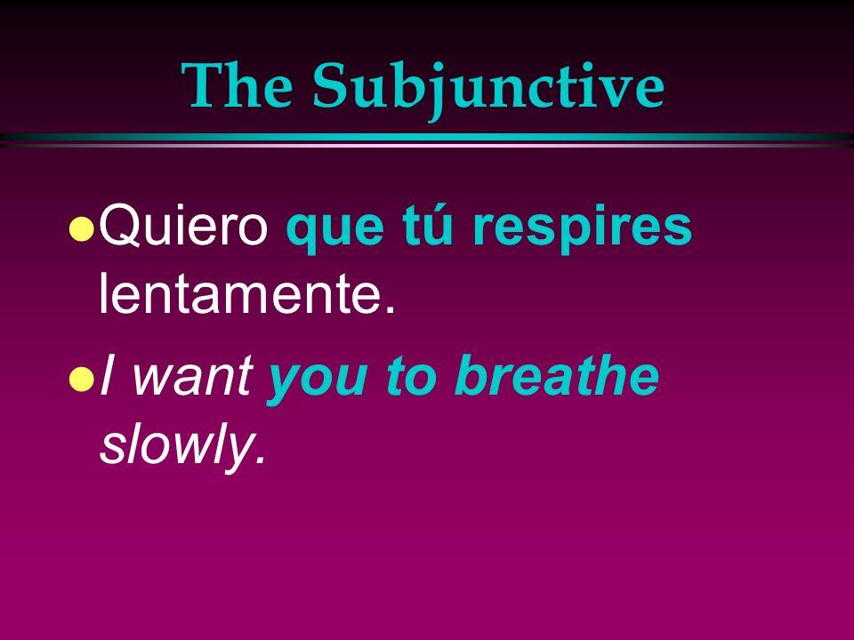The Subjunctive Quiero que tú respires lentamente.